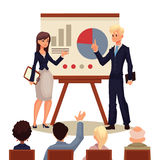 Businessman and businesswoman giving presentation with a board Stock Image