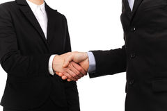 Businessman and a businesswoman handshake Stock Images
