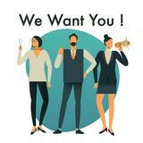 Businessman and Businesswoman are hiring new staff. We Want You royalty free illustration