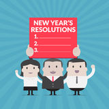 Businessman and Businesswoman holding new year's resolutions sign - Vector Stock Photography