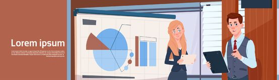 Businessman And Businesswoman Holding Presentation Stand Over Board With Charts And Graph Business Woman And Man Seminar Royalty Free Stock Image