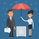 Businessman and businesswoman holding umbrella Stock Photos