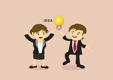 Businessman and Businesswoman with An Idea Vector Cartoon Stock Photo