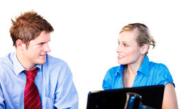 Businessman and businesswoman interacting Stock Photos