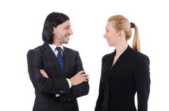 The businessman and businesswoman isolated on Royalty Free Stock Photo