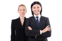 The businessman and businesswoman isolated on Royalty Free Stock Images
