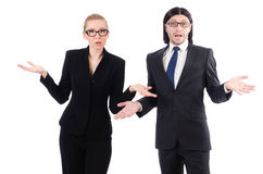 The businessman and businesswoman isolated on Royalty Free Stock Photos