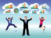 Businessman and Businesswoman jumping with business graphs cloud set Stock Photos