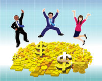 Businessman and Businesswoman jumping with gold coin and bullion Royalty Free Stock Images