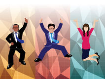 Businessman and businesswoman jumping with polygon background Stock Photos