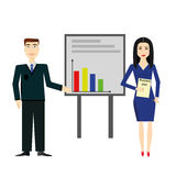 Businessman and businesswoman making presentation explaining charts on a grey board. Business seminar. Flat style vector Stock Photo