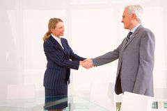Businessman and businesswoman meet Royalty Free Stock Photos