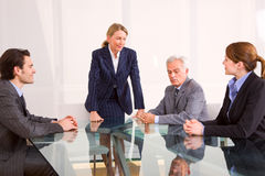 Businessman and businesswoman meet Stock Photography