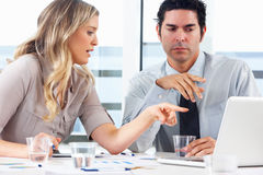Businessman And Businesswoman Meeting In Office Royalty Free Stock Photos
