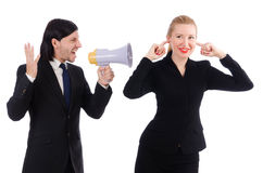 Businessman and businesswoman with megaphone Stock Photo