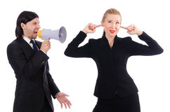 Businessman and businesswoman with megaphone Royalty Free Stock Image