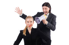 Businessman and businesswoman with megaphone Royalty Free Stock Photos