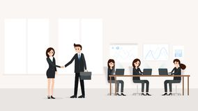 Businessman and businesswoman in modern office royalty free stock photo