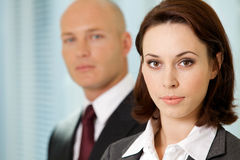 Businessman and businesswoman in office Stock Photos