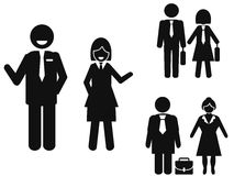 Businessman and businesswoman pictogram Stock Photo