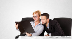 Businessman and businesswoman with plain white copy space Stock Photo