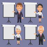 Businessman and Businesswoman Points to Blank Flip Chart Stock Image