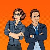 Businessman and Businesswoman. Pop Art. Misunderstanding at Work. Confrontation Between Businessman and Businesswoman. Pop Art. Vector illustration Royalty Free Stock Photography