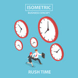 Businessman and businesswoman in rush hour. Busy concept, Flat 3d web isometric design, VECTOR, EPS10 Stock Photos