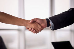 Businessman and businesswoman shake hands on agreement. Royalty Free Stock Photo