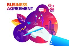 Businessman and businesswoman shaking hand and agree to sign contract after successful business discussion. Business. Agreement concept royalty free illustration