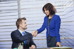 Businessman and businesswoman shaking hands. Two business colleagues shaking hands royalty free stock image