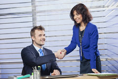Businessman and businesswoman shaking hands. In the office Royalty Free Stock Photography