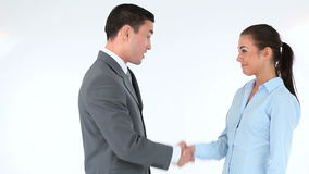 Businessman and businesswoman shaking hands. Against a white background stock footage