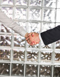 Businessman And Businesswoman Shaking Hands In Office Stock Image