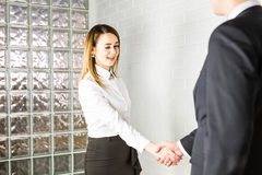 Businessman And Businesswoman Shaking Hands In Office Stock Photography