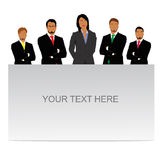 Businessman and businesswoman standing behind empty board isolated on white background Royalty Free Stock Photo