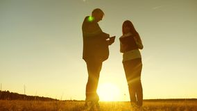 Businessman and businesswoman with tablet negotiate at sunset and laugh. Business meeting men and women in the park. Businessman and businesswoman with tablet stock footage