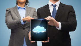 Businessman and businesswoman with tablet pc Royalty Free Stock Photos