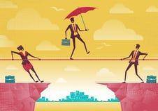 Businessman and Businesswoman use Teamwork on Clifftop. stock illustration