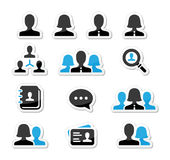 Businessman businesswoman user  icons set. Modern black and blue icons set - man, woman, workers Royalty Free Stock Image