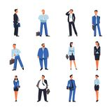 Businessman and businesswoman vector icons. Businessman and businesswoman of office managers icons. Vector isolated business people boss or man and woman in Stock Photo