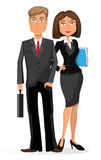 Businessman and businesswoman on a white background Stock Photo