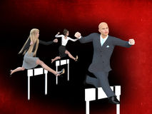 Businessman and businesswomen in a hurdle race Stock Image