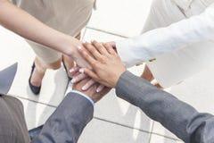 Businessman & Businesswomen Team Hands Together Stock Photo