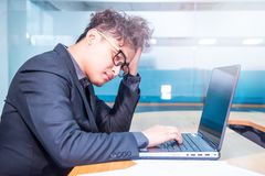 Businessman, busy and headache. Busy and heada person, unsuccessful businessman Royalty Free Stock Photos