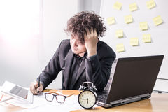 Businessman, busy and headache. Busy and headache person, unsuccessful businessman Stock Photography