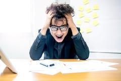 Businessman, busy and headache. Busy and headache person, unsuccessful businessman Stock Photo