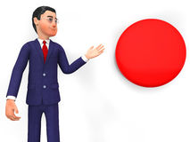 Businessman Beside Button Represents Stop Sign And Biz Stock Photos