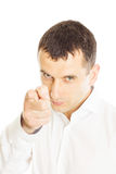 Businessman buttoning his suit jacket Stock Images