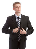 Businessman buttons his suit Royalty Free Stock Photography